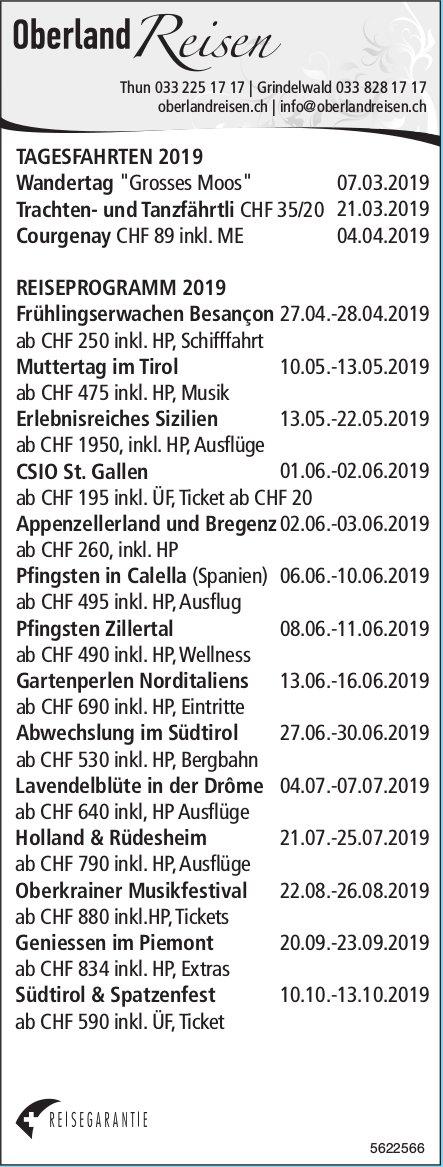 Oberland Reisen, Grindelwald - Reiseprogramm