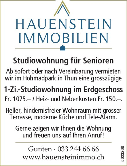 1-Zi.-Studiowohnung im Erdgeschoss für Senioren im Hohmadpark in Thun zu vermieten