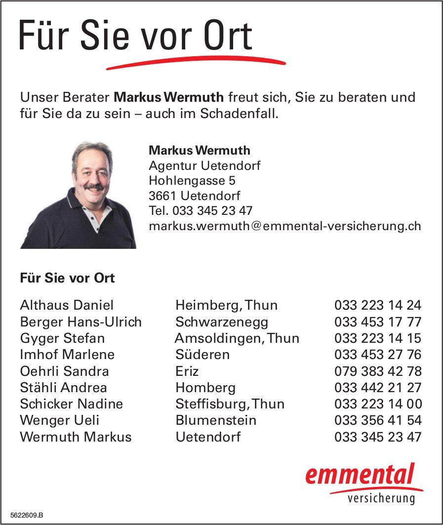 Emmental Versicherung - Markus Wermuth freut sich, Sie zu beraten und für Sie da zu sein