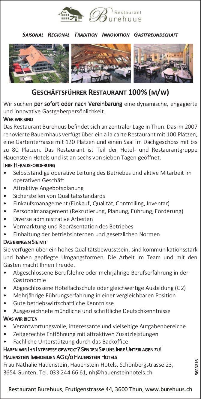 GESCHÄFTSFÜHRER RESTAURANT 100% (M/W), Restaurant Burehuus, Thun, gesucht
