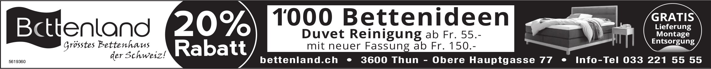 Bettenland, Thun - 20% Rabatt, 1000 Bettideen