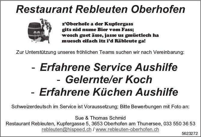 Erfahrene Service Aushilfe, Gelernte/er Koch, Erfahrene Küchen Aushilfe, Restaurant Rebleuten