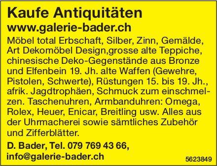 Kaufe Antiquitäten - D. Bader