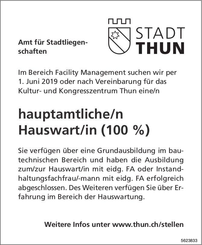 Hauptamtliche/r Hauswart/in (100 %), Stadt Thun, gesucht