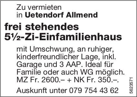 Frei stehendes 5½-Zi-Einfamilienhaus in Uetendorf Allmend zu vermieten