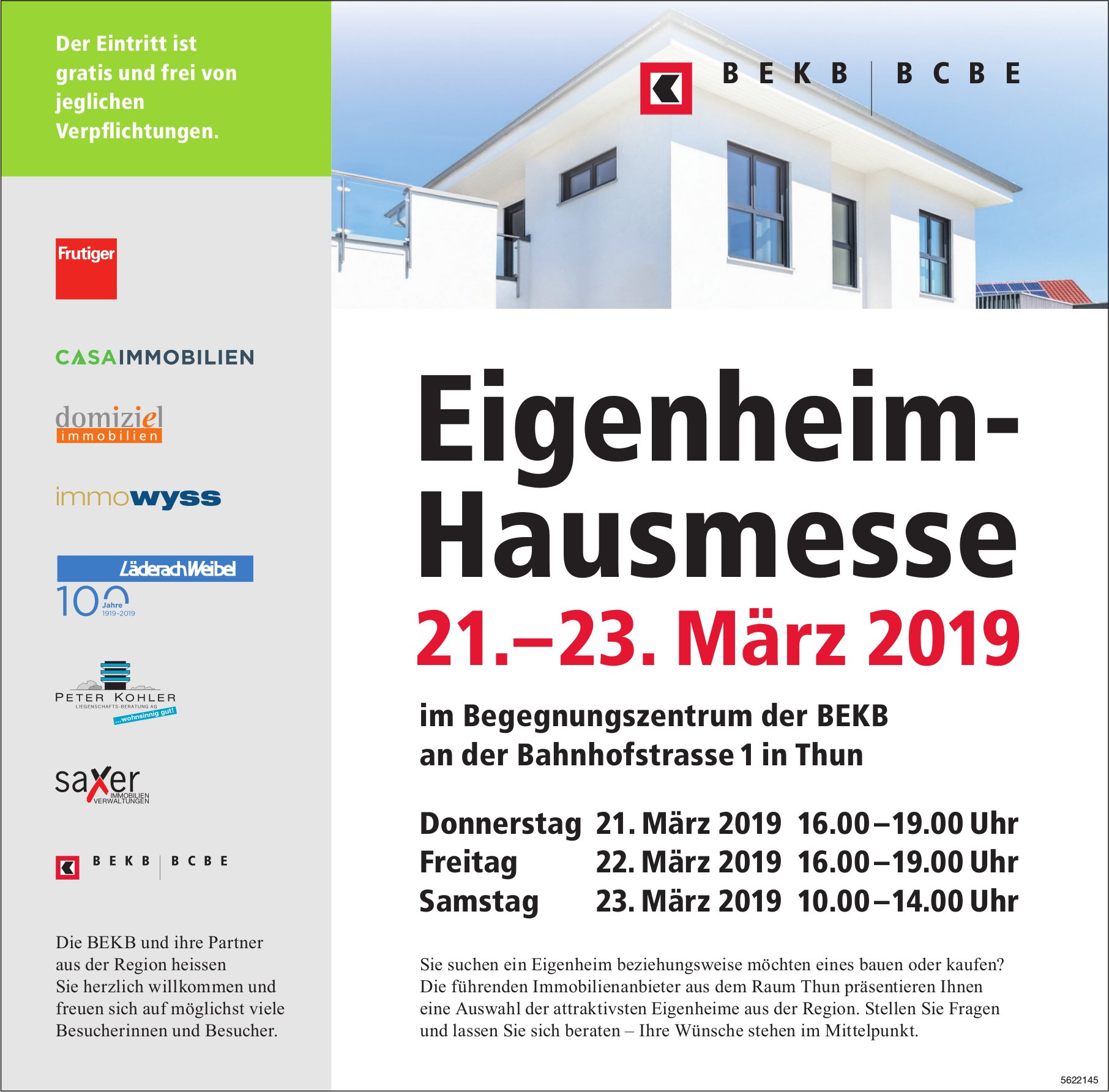 Eigenheim- Hausmesse, 21.–23. März, im Begegnungszentrum der BEKB
