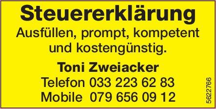 Toni Zweiacker - Steuererklärung: Ausfüllen, prompt, kompetent und kostengünstig.