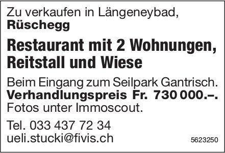 Restaurant mit 2 Wohnungen, Reitstall und Wiese in Längeneybad, Rüschegg, zu verkaufen