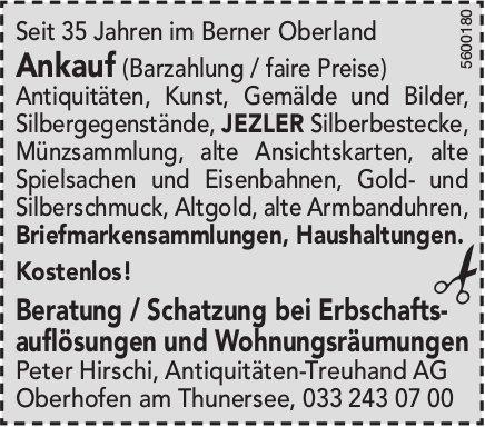Peter Hirschi, Antiquitäten-Treuhand AG - Beratung / Schatzung bei Erbschaftsauflösungen