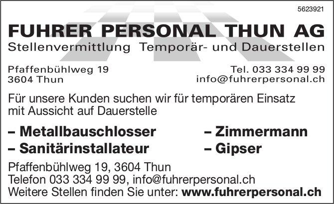 FUHRER PERSONAL THUN AG - Stellenvermittlung Temporär- und Dauerstellen