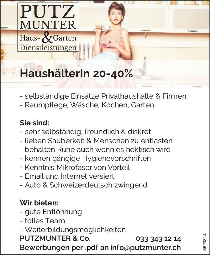 HaushälterIn 20-40%, PUTZMUNTER & Co., gesucht