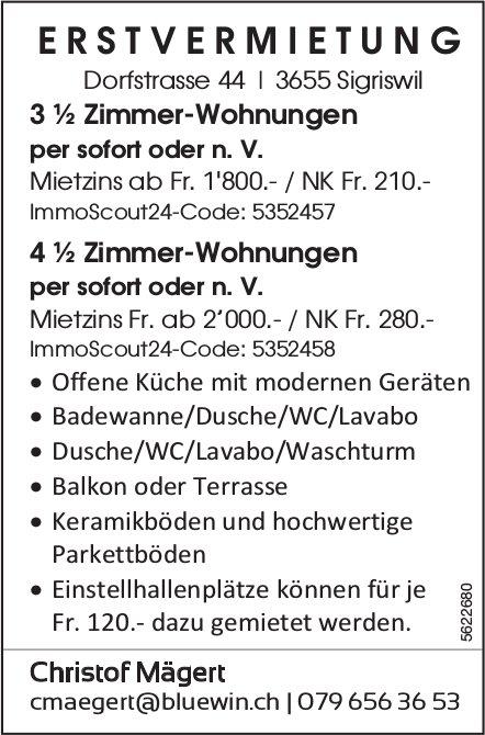 Erstvermietung 3 ½ Zimmer-Wohnungen sowie 4 ½ Zimmer-Wohnungen in Sigriswil zu vermieten