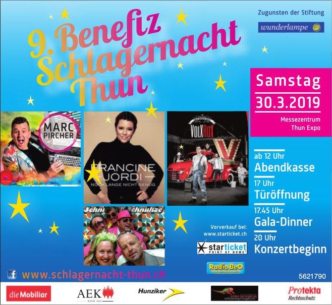 9. Benefiz Schlagernacht Thun Zugunsten der Stiftung Wunderlampe am 30. März