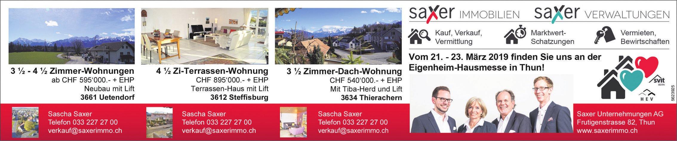 Saxer Unternehmungen AG - Immobilien zu verkaufen  + an der Eigenheim-Hausmesse, 21.-23. März