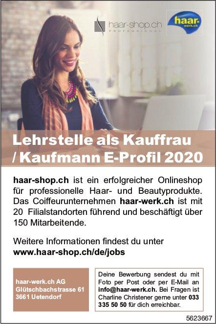 Lehrstelle als Kauffrau / Kaufmann E-Profil 2020, haar-werk.ch AG, Uetendorf, zu vergeben