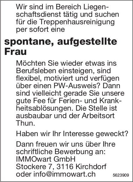 Spontane, aufgestellte Frau, IMMOwart GmbH, Kirchdorf, gesucht