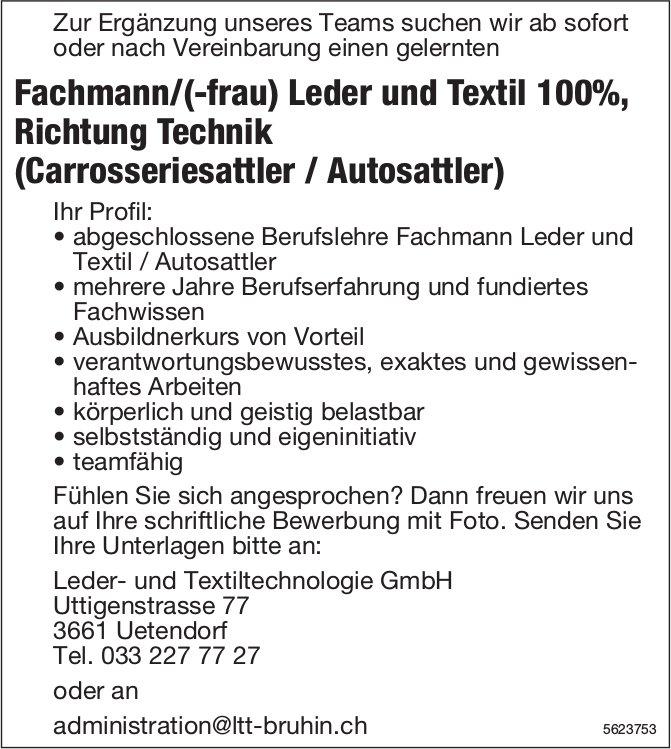 Fachmann/(-frau) Leder und Textil 100%, Leder- und Textiltechnologie GmbH, Uttigen, gesucht