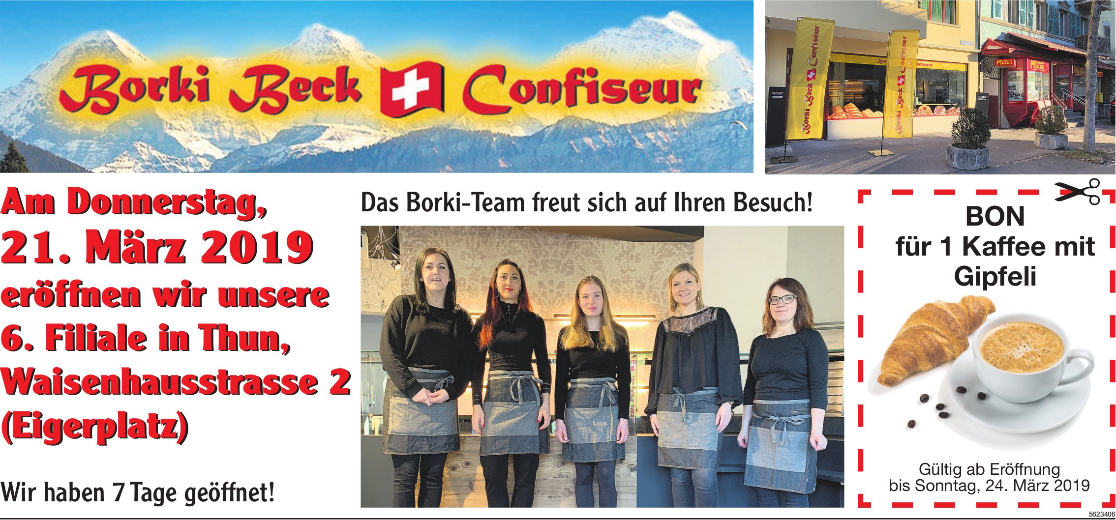 Borki Beck Confiseur - Eröffnung 6. Filiale, 21. März, in Thun