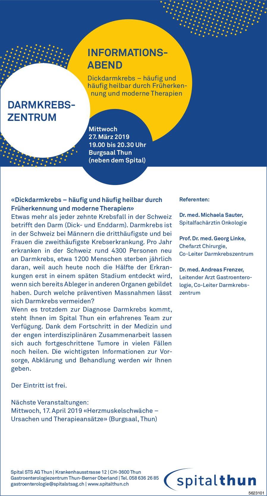 Spital Thun - Informationsabend über Darmkrebs am 27. März