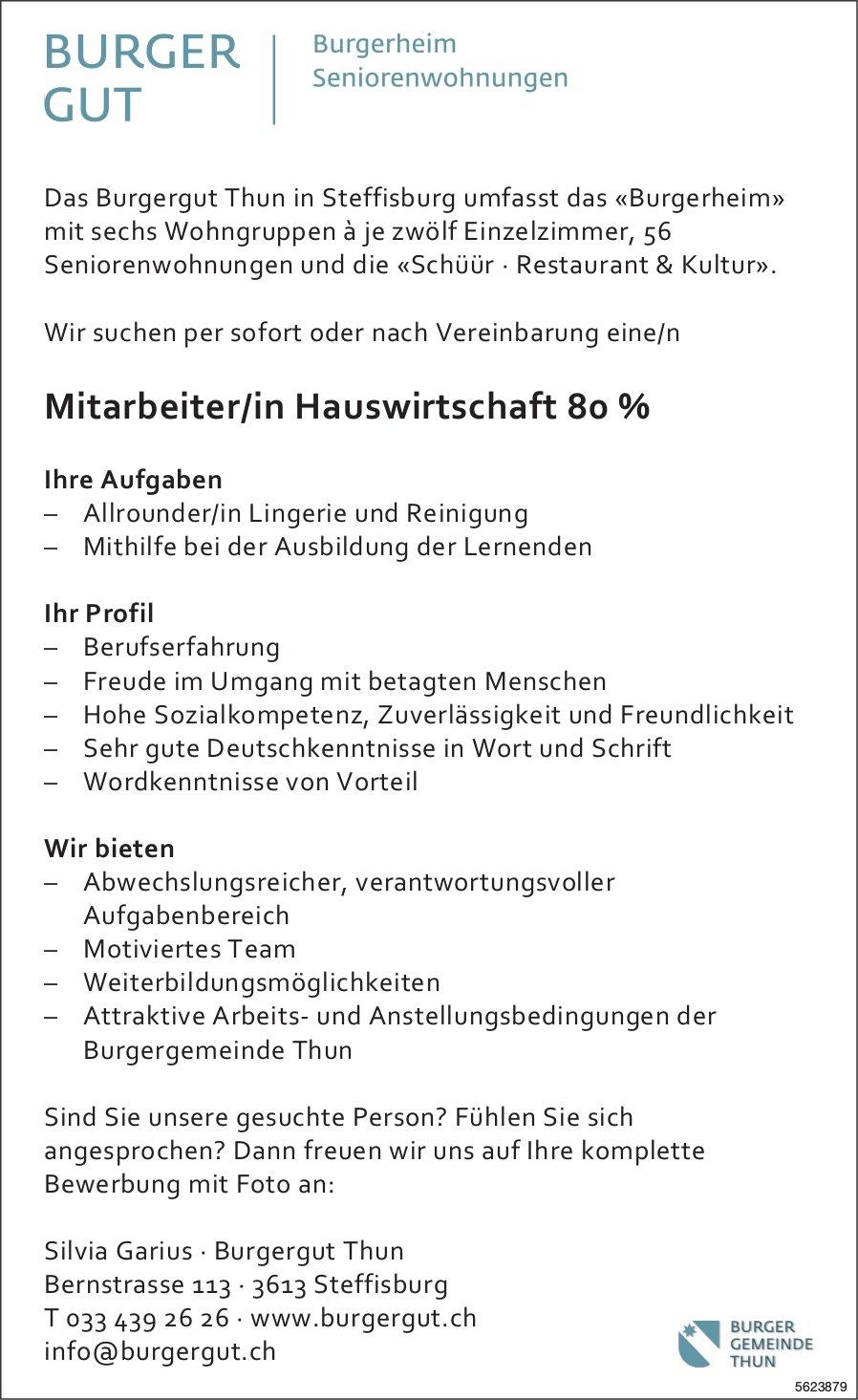 Mitarbeiter/in Hauswirtschaft 80 %, Burgergut Thun, Steffisburg, gesucht