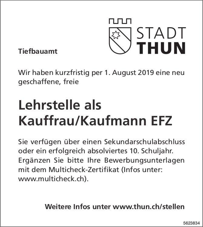 Lehrstelle als Kauffrau/Kaufmann EFZ, Stadt Thun, zu vergeben