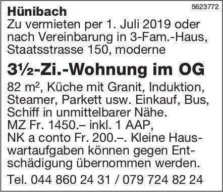 3½-Zi.-Wohnung im OG in Hünibach zu vermieten