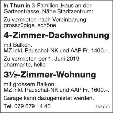 4-Zimmer-Dachwohnung sowie 3½-Zimmer-Wohnung in Thun zu vermieten