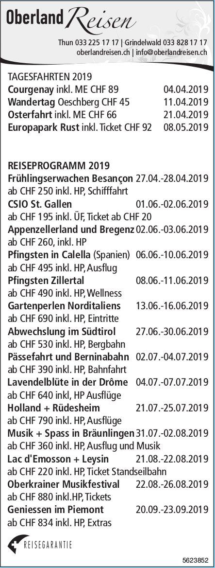 Oberland Reisen - Tagesfahrten / Reiseprogramm