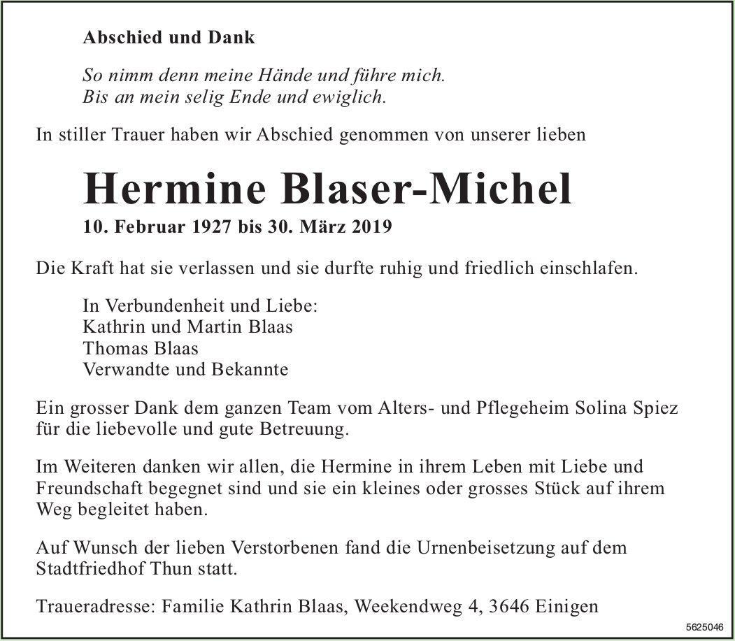 Blaser-Michel Hermine, im April 2019 / TA/DS
