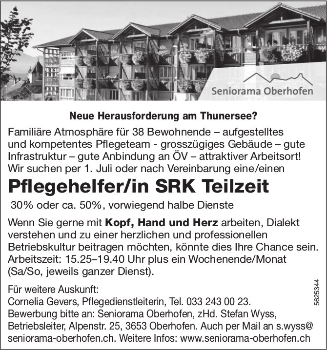 Pflegehelfer/in SRK Teilzeit, 30 - 50%, Seniorama Oberhofen, gesucht