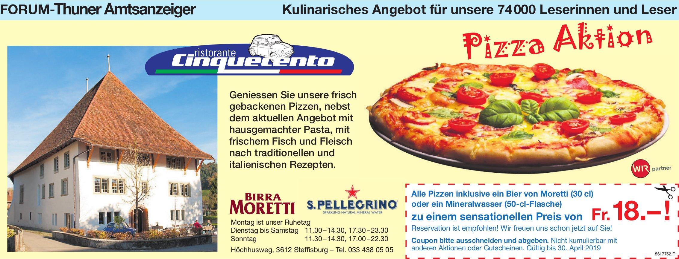 Kulinarisches Angebot für unsere 74000 Leserinnen und Leser - Pizza Aktion, Ristorante Cinquecento