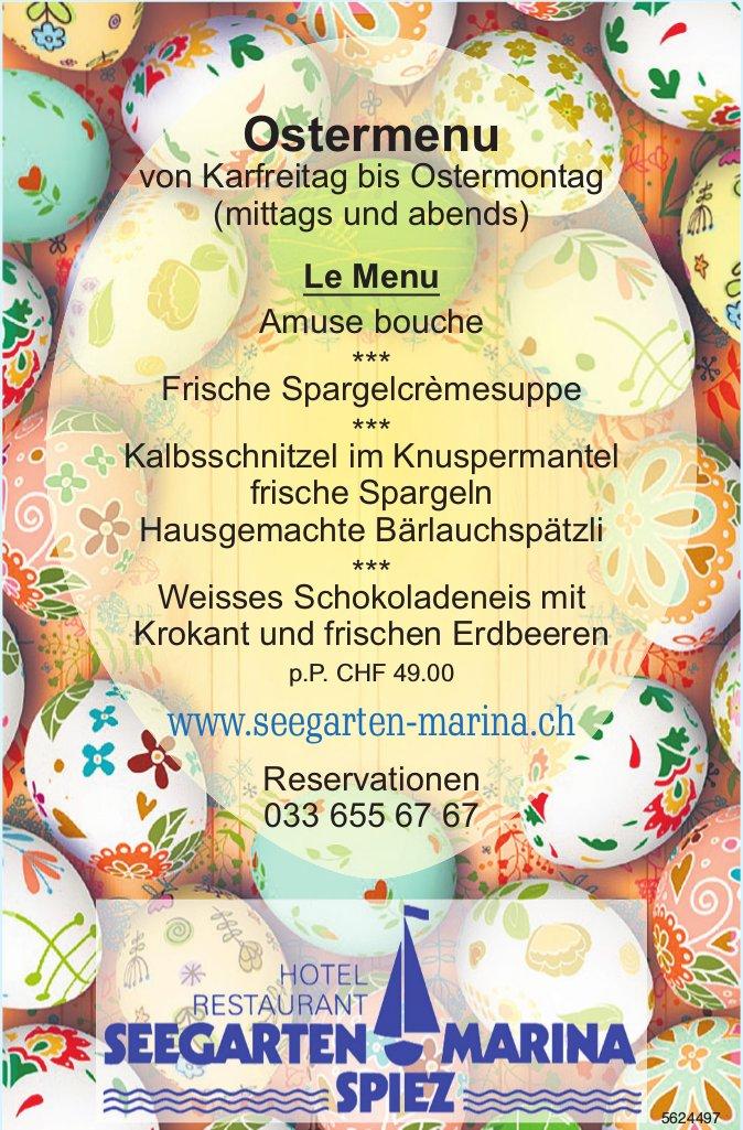 Hotel Restaurant Seegarten Marina Spiez - Ostermenu