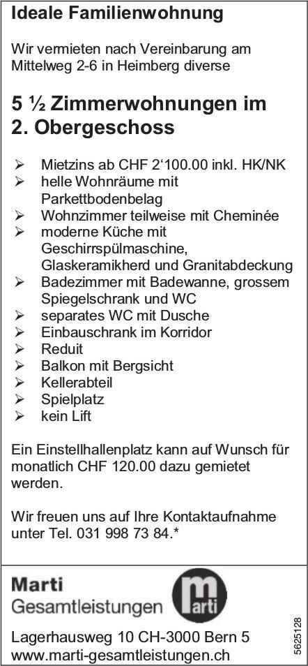 5 ½ Zimmerwohnungen im 2. OG in Heimberg zu vermieten