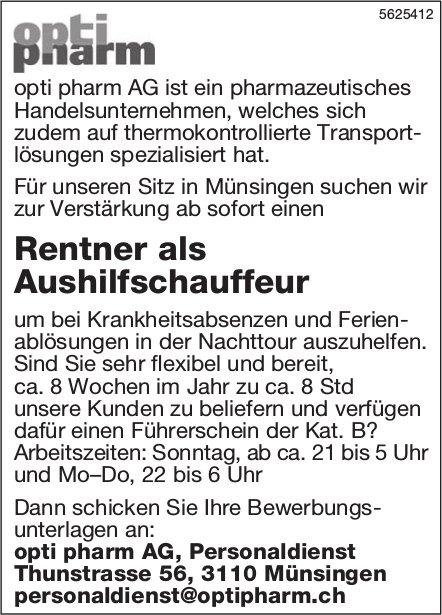 Rentner als Aushilfschauffeur, opti pharm AG, Münsingen, gesucht
