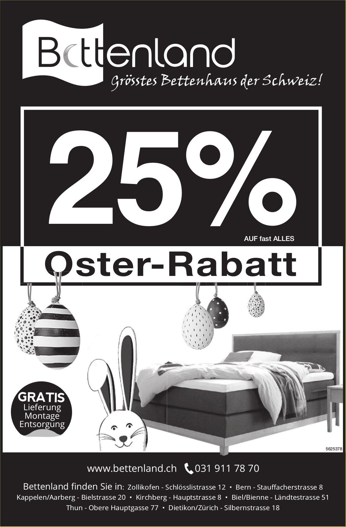 Bettenland, grösstes Bettenhaus der Schweiz! 25% Oster-Rabatt