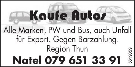 Kaufe Autos, Region Thun