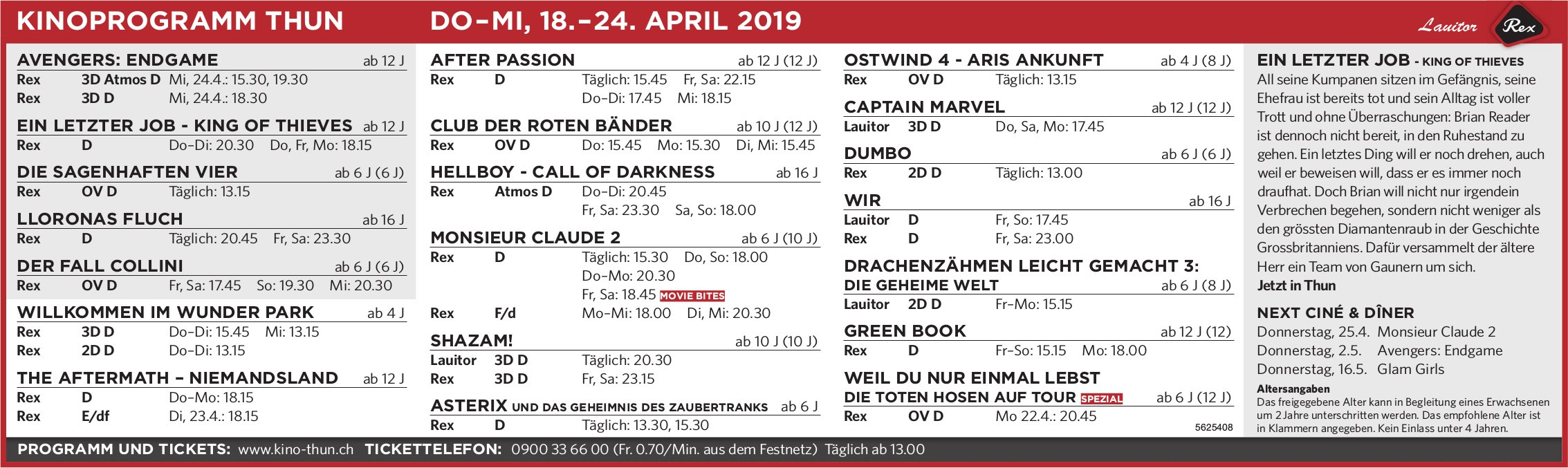 KINOPROGRAMM THUN, DO–MI, 18.–24. APRIL