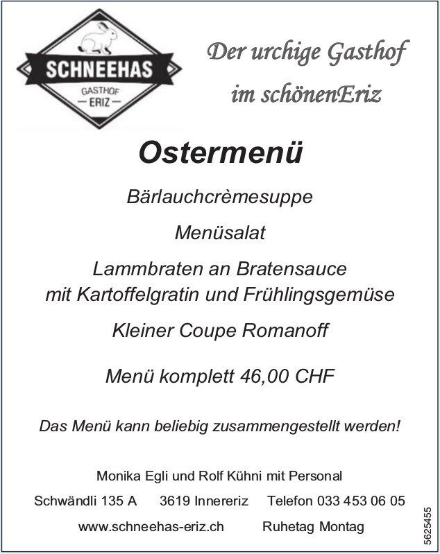 Schneehas Gasthof Eriz - Ostermenü