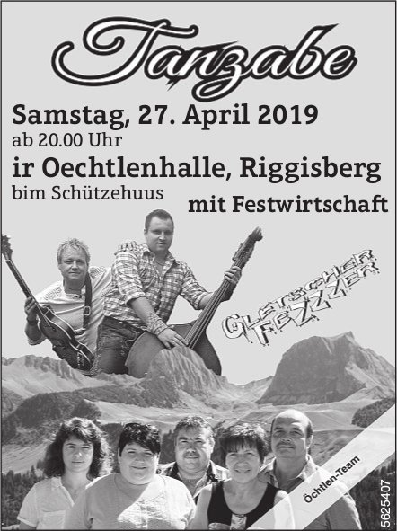 Tanzabe, ir Oechtlenhalle, Riggisberg am 27. April