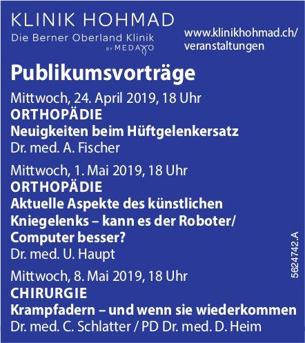 KLINIK HOHMAD - Publikumsvorträge Orthopädie, Chirurgie, 27. April, 1./8. Mai