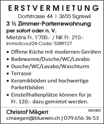 Erstvermietung 3 ½ Zimmer-Parterrewohnung in Sigriswil