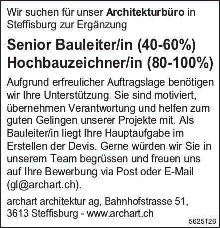 Senior Bauleiter/in (40-60%) &  Hochbauzeichner/in (80-100%), archart architektur ag, Steffisburg