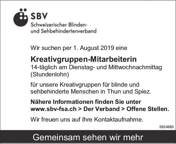 Kreativgruppen-Mitarbeiterin, Schweizerischer Blinden- & Sehbehindertenverband, Thun & Spiez, gesuch
