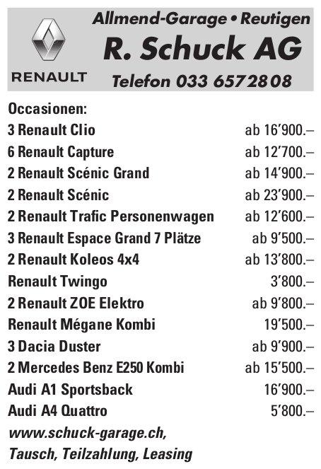 R. Schuck AG Allmend-Garage, Reutigen - Occasionenmarkt