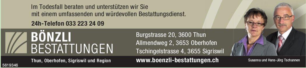 BÖNZLI BESTATTUNGEN, Thun, Oberhofen, Sigriswil und Region