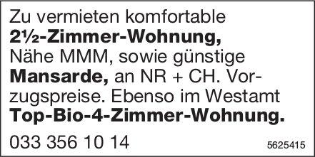 2½-Zi.-Wohnung Nähe MMM sowie Mansarde & im Westamt Top-Bio-4-Zi.-Wohnung.
