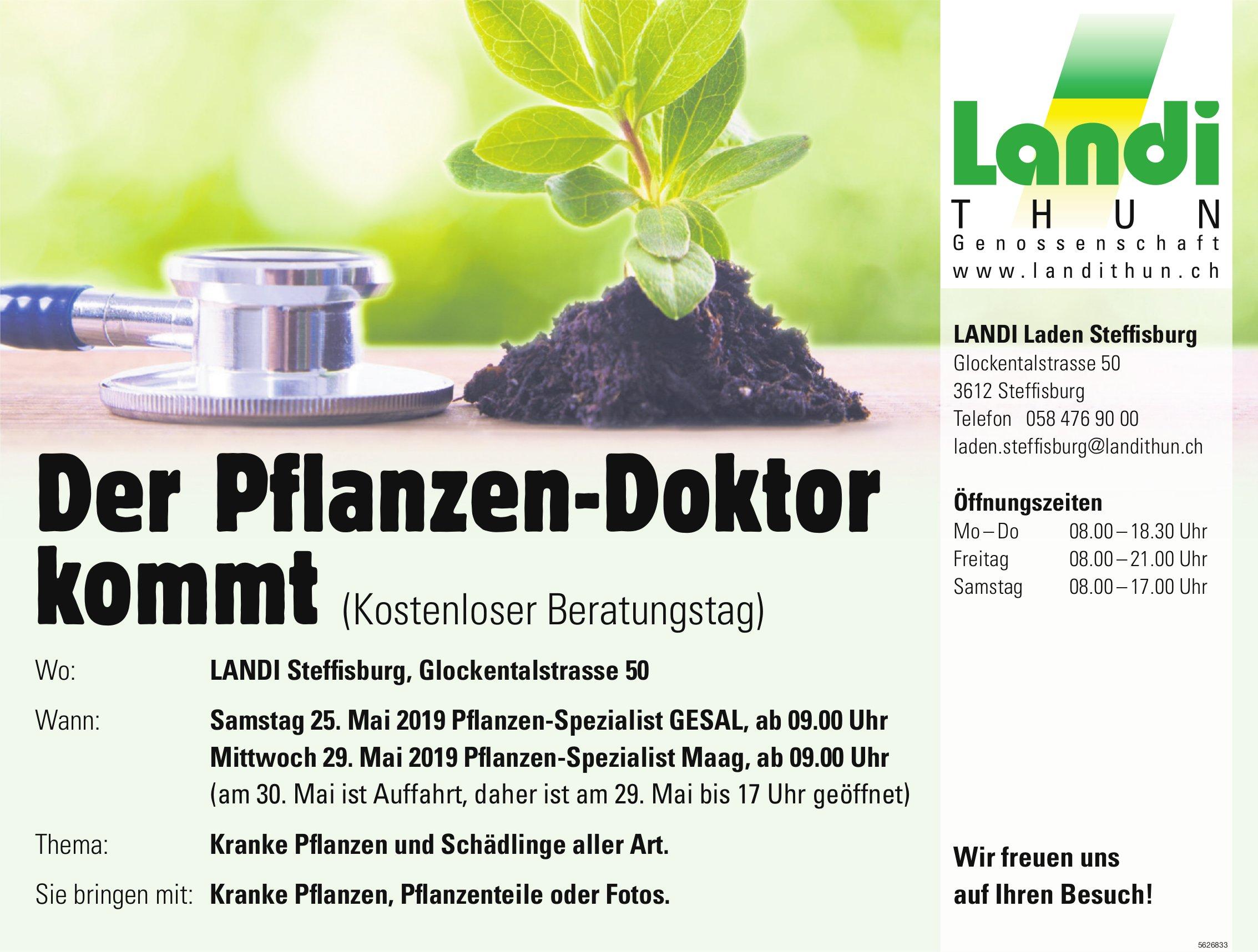 Der Pflanzen-Doktor kommt, (Kostenloser Beratungstag), 25. + 29. Mai, LANDI Steffisburg