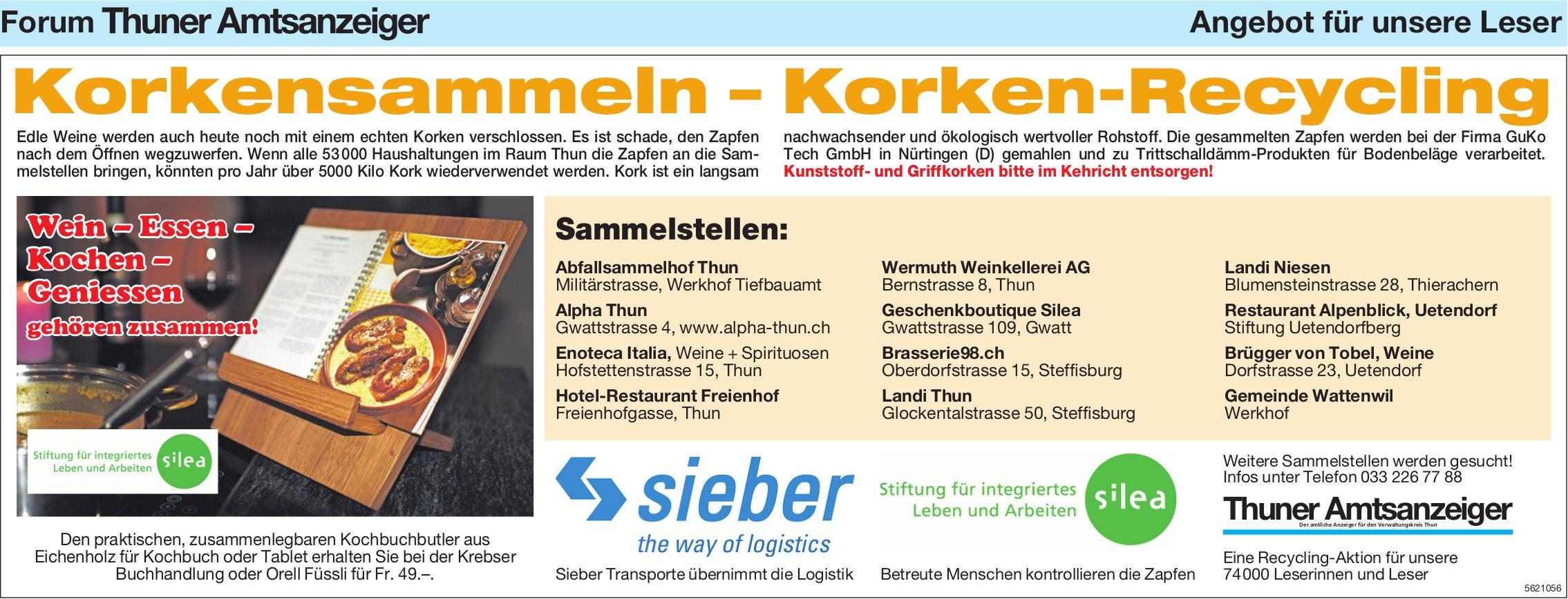 Forum Thuner Amtsanzeiger - Korkensammeln – Korken-Recycling