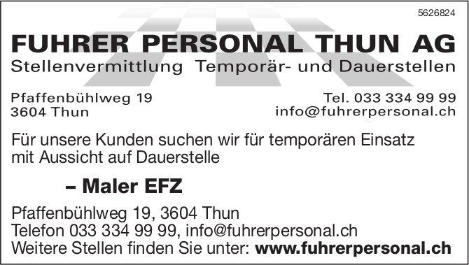 FUHRER PERSONAL THUN AG - Maler EFZ, gesucht