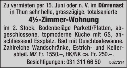 4½-Zimmer-Wohnung im Dürrenast in Thun zu vermieten
